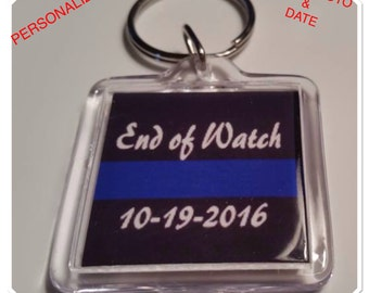 Police Thin Blue Line End of Watch Personalized Keychain