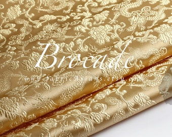 Solid Champagne Brocade Dragon Fabric - achat tissu asiatique