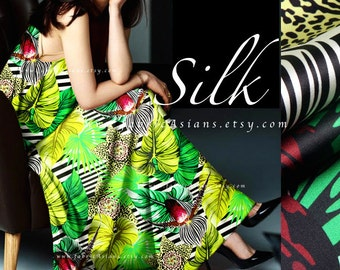 zebra fabric green Silk EXPRESS delivery