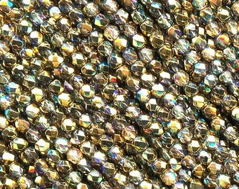 Crystal Golden Rainbow coated Preciosa Czech Fire Polished Round Faceted Glass Beads in sizes 2mm, 3mm, 4mm and 6mm, Aurum AB