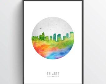 Orlando Florida Skyline Poster, Orlando Cityscape, Orlando Art, Orlando Decor, Home Decor, Gift Idea, USFLOR20P