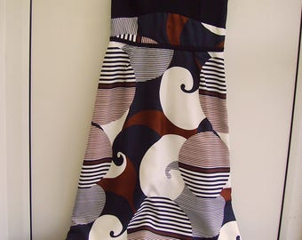 Groovy vintage retro 1960s/1970s long psychedelic/abstract Maxi Dress black, brown & white UK 10/12