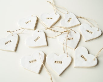 10 love Tags, Wedding Favors, Favor Clay Gift Tags,  Wedding Ornament, Wedding Day Decor,  White Heart, Hanging Ornament, Set of 10 Pieces