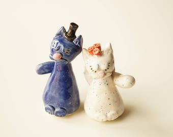 wedding cat cake topper, cat cake topper, cat wedding topper, ceramic cat