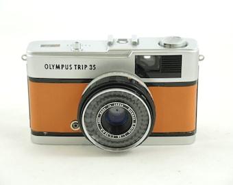 Olympus Trip 35 in Tan Leather