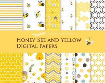 Honey Bee and Yellow Digital Paper Pack - Instant Download - DP086