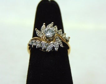 Amazing Womens Vintage Estate 14K Yellow Gold & Diamond Ring 4.9g #E2937