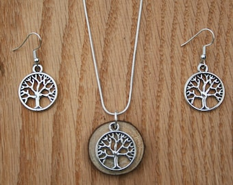 Diffuser necklace -wooden tree with matching earring set