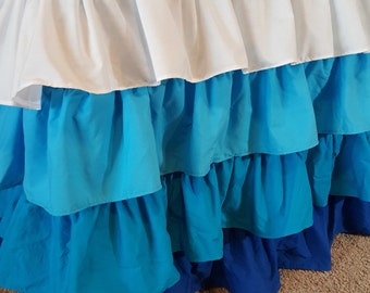 Turquoise Ruffled Tablecloth 6 foot Table 4 Ruffles Ombre Teal and White Ombre Ruffle Tablecloth Kids Party Decor Baby Shower Dessert Table