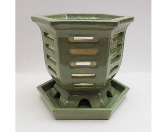 Orchid Pot / Planter, Original Design by LCCeramics, large size, hand crafted stoneware, with water tray
