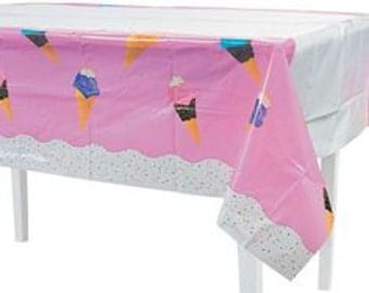 I love Ice cream Party Tablecloth / Ice cream theme party / Ice Cream Party / Ice Cream