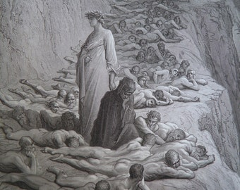 Dante's Purgatory by Gustave Dore Antique Print circa 1880 (73) Hell Occult