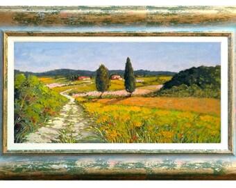 Italian painting walking in the Tuscany countryside original oil Gino Masini Italy