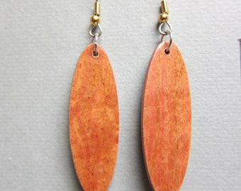 Rare Pink Ivory Exotic Wood small Earrings repurposed ecofriendly Handcrafted ExoticWoodJewelrynd