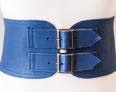 Blue Corset Leather Two Gold Buckle Belt  Blue Belt  Corset Waist Belt  Leather Buckle Belt  Blue Leather Buckle Belt