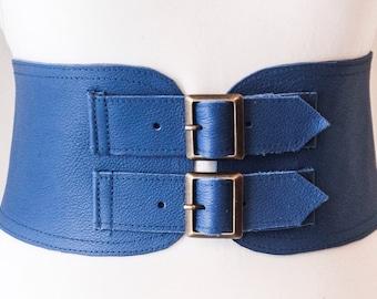 Blue Corset Leather Two Gold Buckle Belt | Blue Belt | Corset Waist Belt | Leather Buckle Belt | Blue Leather Buckle Belt