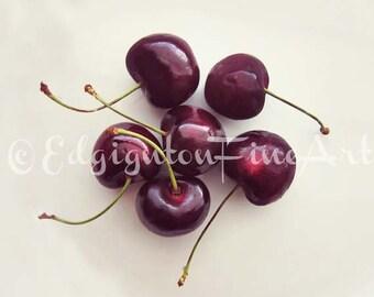 Cherry still life, cherry photo, Still life photo, cherries, kitchen decor, cherry print, red, kitchen decor, food art, fruit photo