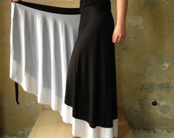 Long Wrap Skirt Jersey Reversible Skirt  Black & White  Gypsy Hippie Long Boho Skirt Wrap 2 Color Skirt Fairy Maxi Wrap Summer Skirt