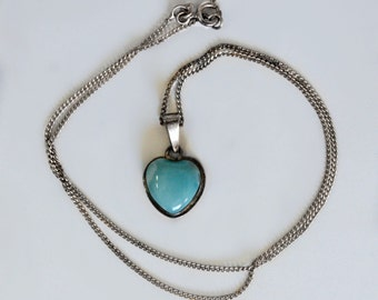 70's amazonite & sterling romantic puffy heart pendant, lovely oxidized 925 silver and opaque blue gemstone simple boho sweetheart necklace