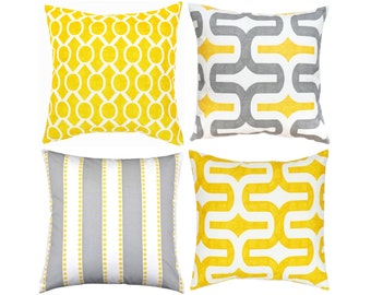 yellow pillow coveryellow grey pillowgray throw pillow cushion
