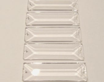 5 Asfour 76mm 2 Hole Rectangular  Crystal  Prisms,  Wedding Crystal, Colonial  Prisms, Faceted Crystals, Chandelier  crystals