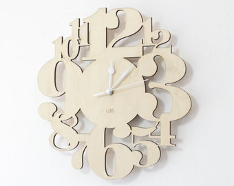 Wooden Wall Clock - Numbers Forest