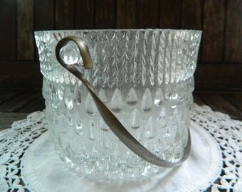 Vintage Crystal Glass Ice Bucket with Chrome Handle Art Deco Style