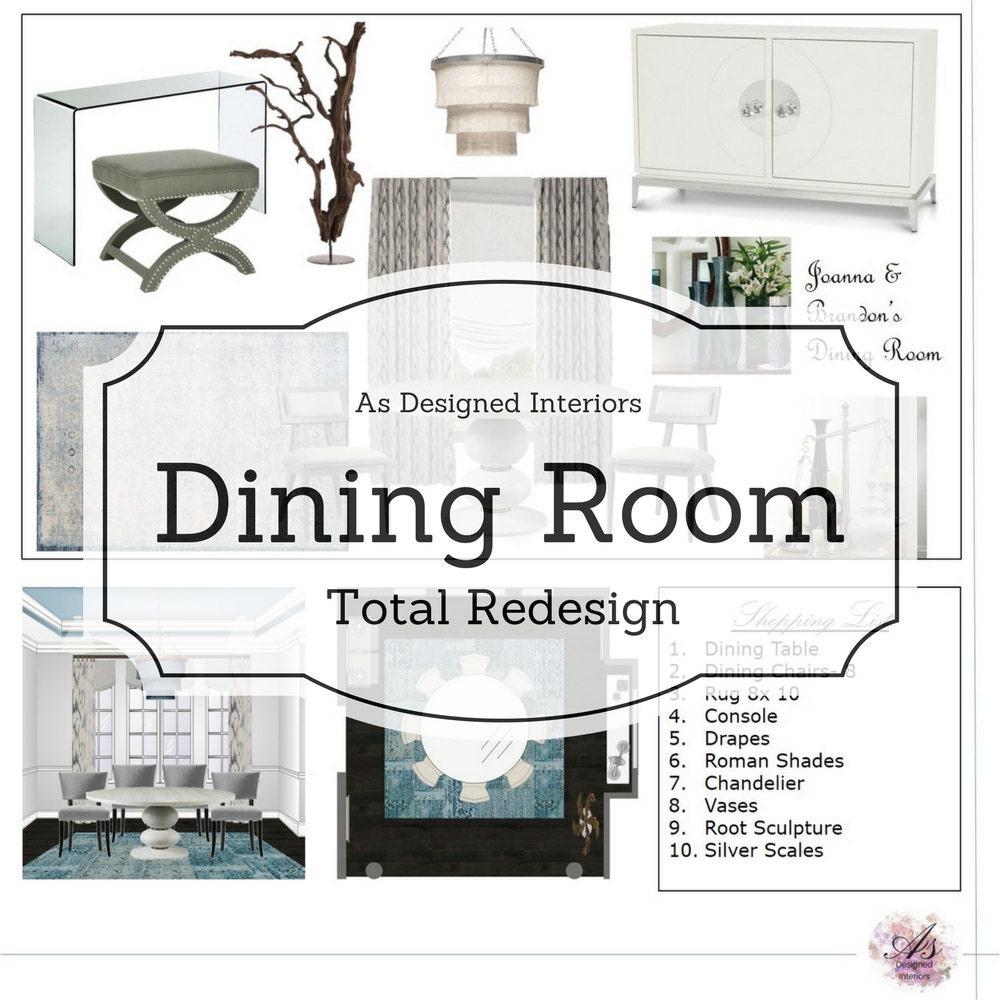 Online interior design dining room e design total redesign for Redesign room layout