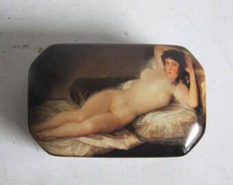 "Porcelain box with image of a painting by Francisco Goya ""La maja desnuda"""