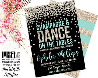 Time to Drink Champagne and Dance on the Tables Gold Glitter Confetti Bachelorette Party Invitation, Black and Teal Last Fling, Girls Night