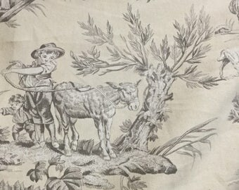 Cream & Brown Farm Toile - Upholstery Fabric by The Yard