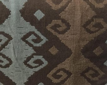Teal & Brown Ikat - Upholstery Fabric by The Yard  - Fast Shipping