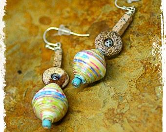 Pastel paper bead earrings for women, Multicolor tribal earrings, Boho chic stacked bead earrings, Bohemian dangle earrings, Paper gift