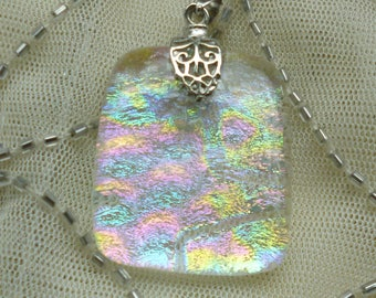 Dichroic Glass Pendant.  Fused Glass Rainbow Necklace