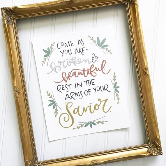 "Hand-lettered and illustrated 8x10"" Print Catholic Christian Inspirational"