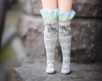 Blythe socks/ stocking with print by BlablaBlythe