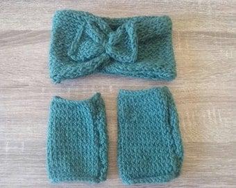 Forest Green headband and  Fingerless mittens