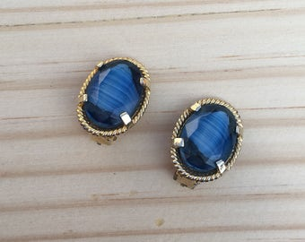 Clip on Earrings: Light and Dark Blue Ripple Glass Clip on Earrings