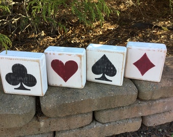Card Suits, Heart, Spade, Diamond, Clubs, Cards, Blocks, Wood, Shelf Sitters, Playing Cards, Hearts, Spades, Clubs, Diamonds