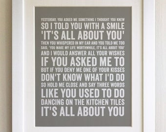 FRAMED Lyrics Print - McFly, All About You - 20 Colours options, Black/White Frame, Wedding, Anniversary, Valentines, Fab Picture Gift
