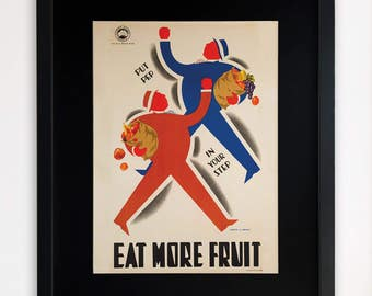 """LARGE 20""""x16"""" FRAMED Advertising Print, Black or White Frame/Mount, Eat More Fruit"""