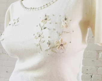 1950s Monrose Ivory with Flower Design