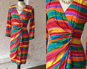 Nipon Boutique 1980s Rainbow Vintage Dress