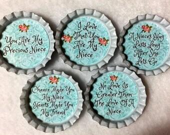 Set of 5 Niece Bottle Cap Magnets