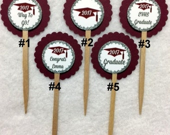 Set Of 12 Personalized Maroon Graduation 2017 Cupcake Toppers (Your Choice Of Any 12)