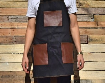 Denim Apron Brown Leather Pockets For Tools Woodwork & Crafts Work Machinist Shop BDBP