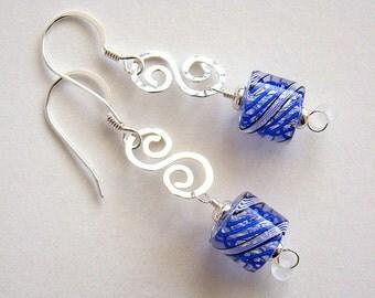 Eye Candy Earrings, Blue Cane Glass Earrings, Blue Furnace Glass Silver Drop Earrings