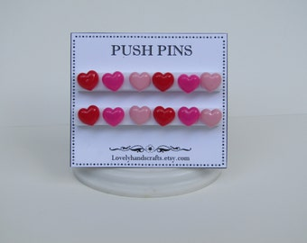 Pink - Red and Fuchsia  Heart Shaped - Push Pins / Bulletin Board Décor – Set of 12