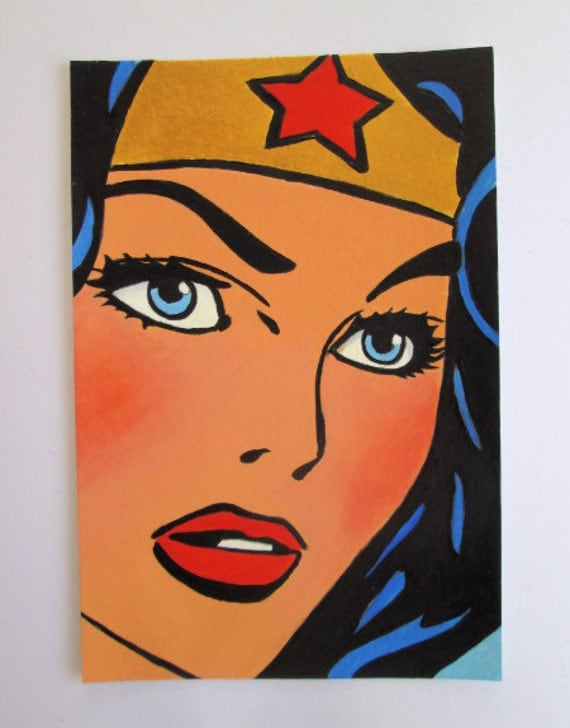 Hand Painted Original Acrylic Postcard size Painting Beautiful Pop  Art blue eyes  Wonder Woman Marvel Comic Girl  size 6 x 4 inches