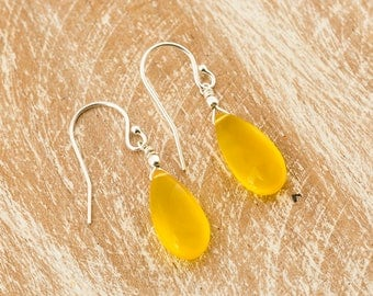 Yellow Chalcedony earrings/Chalcedony Earrings/Yellow stone earrings/Yellow Chalcedony Teardrop Earrings